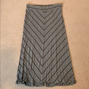 Gray and black striped maxi skirt
